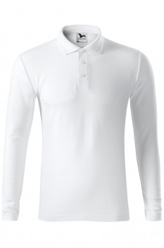 Tricou polo barbati Malfini Pique Long Sleeve, alb