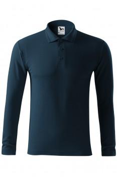 Tricou polo barbati Malfini Pique Long Sleeve, albastru marin