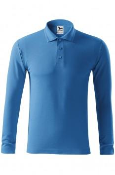 Tricou polo pentru barbati Malfini Pique Long Sleeve, albastru azuriu
