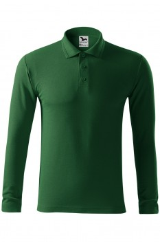 Tricou polo barbati Malfini Pique Long Sleeve, verde sticla