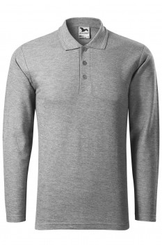 Tricou polo barbati Malfini Pique Long Sleeve, gri inchis