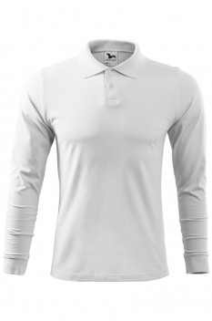 Tricou polo barbati, bumbac 100%, Malfini Single Jersey Long Sleeve, alb