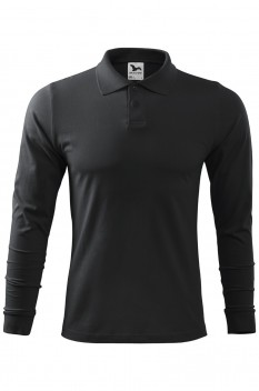 Tricou polo barbati, bumbac 100%, Malfini Single Jersey Long Sleeve, ebony gray