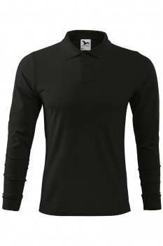 Tricou polo barbati, bumbac 100%, Malfini Single Jersey Long Sleeve, negru