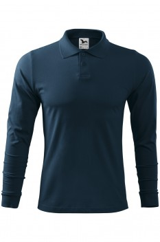 Tricou polo barbati, bumbac 100%, Malfini Single Jersey Long Sleeve, albastru marin