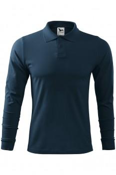 Tricou polo barbati, bumbac 100%, Malfini Single Jersey Long Sleeve, albastru marin
