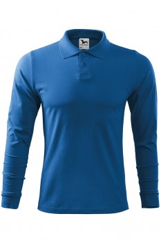 Tricou polo barbati, bumbac 100%, Malfini Single Jersey Long Sleeve, albastru azuriu