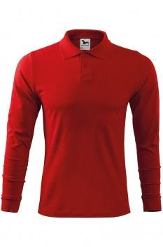 Tricou polo barbati, bumbac 100%, Malfini Single Jersey Long Sleeve, rosu
