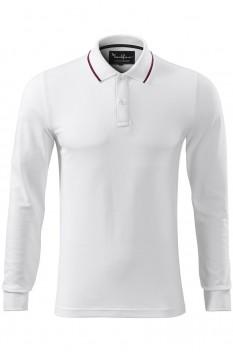 Tricou polo barbati Malfini Premium Contrast Stripe Long Sleeve, alb