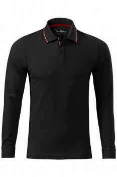 Tricou polo barbati Malfini Premium Contrast Stripe Long Sleeve, negru