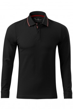 Tricou polo pentru barbati Malfini Premium Contrast Stripe Long Sleeve, negru