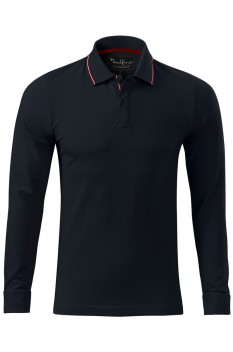 Tricou polo barbati Malfini Premium Contrast Stripe Long Sleeve, dark navy