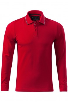 Tricou polo pentru barbati Malfini Premium Contrast Stripe Long Sleeve, formula red