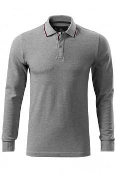 Tricou polo barbati Malfini Premium Contrast Stripe Long Sleeve, gri inchis