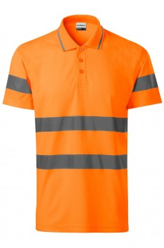 Tricou polo unisex Rimeck HV Runway, portocaliu reflectorizant