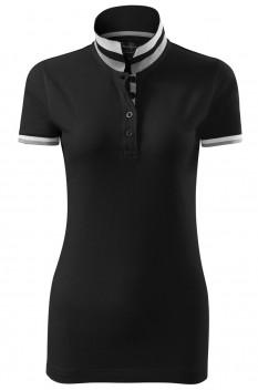 Tricou polo femei, bumbac 100%, Malfini Premium Collar Up, negru