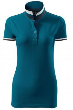 Tricou polo femei, bumbac 100%, Malfini Premium Collar Up, albastru petrol