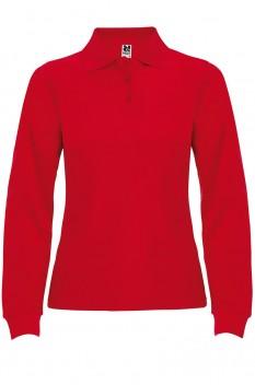 Tricou polo cu maneca lunga pentru femei Roly Estrella, rosu