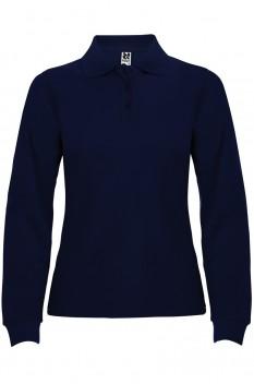 Tricou polo cu maneca lunga pentru femei Roly Estrella, bleumarin