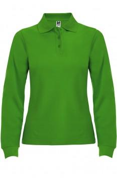 Tricou polo cu maneca lunga femei, bumbac 100%, Roly Estrella, verde iarba