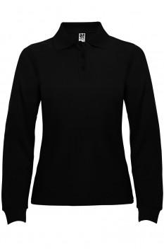 Tricou polo cu maneca lunga pentru femei Roly Estrella, negru