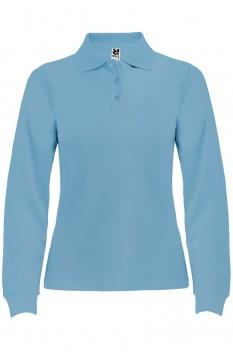 Tricou polo cu maneca lunga femei, bumbac 100%, Roly Estrella, albastru celest