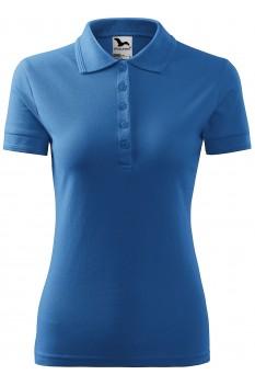 Tricou polo femei Malfini Pique, albastru azuriu