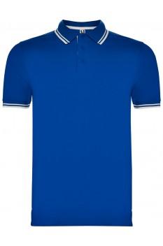Tricou polo barbati, bumbac 100%, Roly Montreal, albastru regal/alb