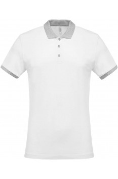 Tricou polo barbati, bumbac 100%, Kariban KA258, White/Oxford Grey