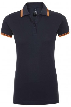 Tricou polo femei, bumbac 100%, Sol's Pasadena, French Navy/Neon Orange