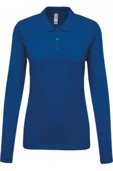 Tricou polo cu maneca lunga femei, bumbac 100%, Kariban KA257, Light Royal Blue