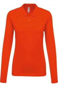 Tricou polo cu maneca lunga femei, bumbac 100%, Kariban KA257, Orange