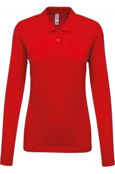Tricou polo cu maneca lunga femei, bumbac 100%, Kariban KA257, Red