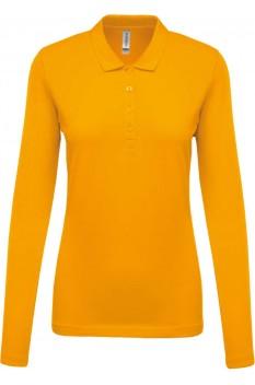 Tricou polo cu maneca lunga femei, bumbac 100%, Kariban KA257, Yellow