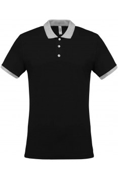 Tricou polo barbati, bumbac 100%, Kariban KA258, Black/Oxford Grey