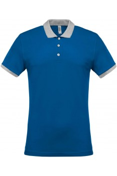 Tricou polo barbati, bumbac 100%, Kariban KA258, Light Royal Blue/Oxford Grey