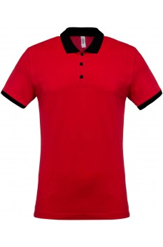 Tricou polo barbati, bumbac 100%, Kariban KA258, Red/Black