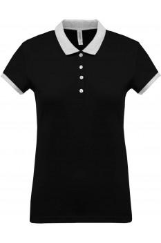 Tricou polo femei, bumbac 100%, Kariban KA259, Black/Oxford Grey