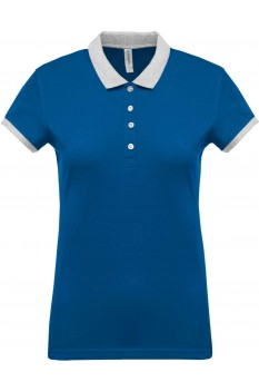 Tricou polo femei, bumbac 100%, Kariban KA259, Light Royal Blue/Oxford Grey