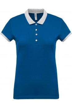 Tricou polo femei, bumbac 100%, Kariban KA259, Light Royal Blue/Oxford Grey