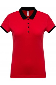 Tricou polo femei, bumbac 100%, Kariban KA259, Red/Black