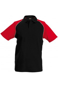 Tricou polo barbati, bumbac 100%, Kariban Baseball KA226, Black/Red