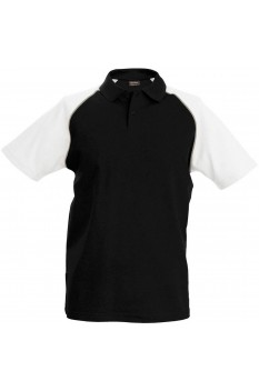 Tricou polo barbati, bumbac 100%, Kariban Baseball KA226, Black/White