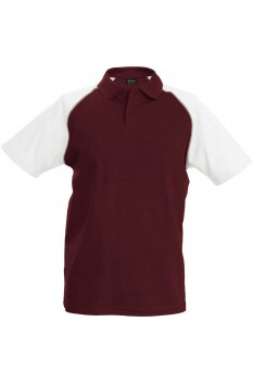 Tricou polo barbati, bumbac 100%, Kariban Baseball KA226, Bordeaux/White
