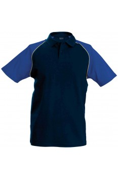 Tricou polo barbati, bumbac 100%, Kariban Baseball KA226, Navy/Royal Blue