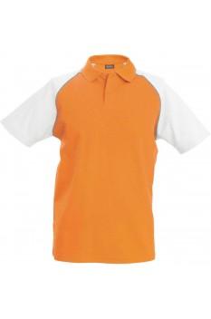 Tricou polo barbati, bumbac 100%, Kariban Baseball KA226, Orange/White