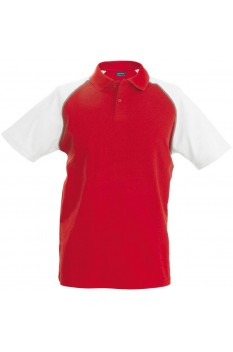 Tricou polo barbati, bumbac 100%, Kariban Baseball KA226, Red/White