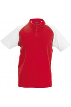 Tricou polo barbati, bumbac 100%, Kariban Baseball KA226, Red/White