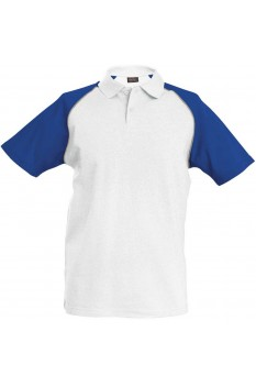 Tricou polo barbati, bumbac 100%, Kariban Baseball KA226, White/Royal Blue