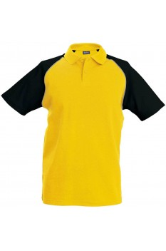 Tricou polo barbati, bumbac 100%, Kariban Baseball KA226, Yellow/Black